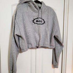 """F21 Forever 21 """"SAINT"""" Gray Crop Hoodie SMALL 1610"""